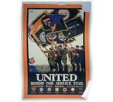United behind the service star United War Work Campaign 002 Poster