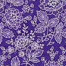 Purple And White Flowers And Lace Design by artonwear
