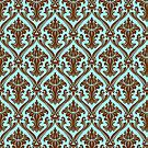 Brown And Blue Vintage Damasks Pattern by artonwear