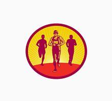 Marathon Runner Circle Woodcut Unisex T-Shirt