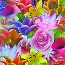 Colorful Assorted Multicolor Flowers Illustration by artonwear