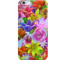 Colorful Assorted Multicolor Flowers Illustration iPhone Case/Skin
