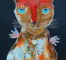 Cat With Green Blue Eyes by Bea Roberts