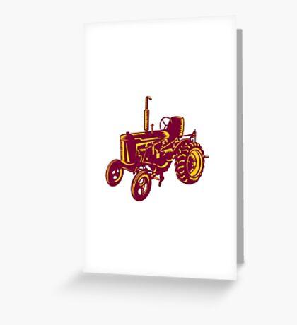 Vintage Farm Tractor Woodcut Greeting Card