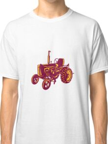 Vintage Farm Tractor Woodcut Classic T-Shirt