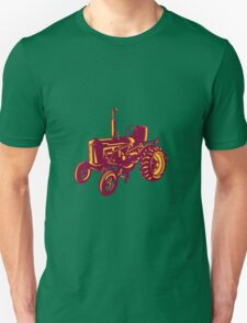 Vintage Farm Tractor Woodcut T-Shirt