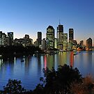 Brisbane City & River At Dusk. Queensland, Australia  by Ralph de Zilva