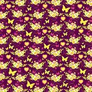 Floral butterflies and hearts spring greens &amp; purple by Sarah Trett