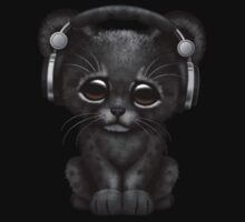 Cute Black Panther Cub Dj Wearing Headphones on Blue Kids Clothes