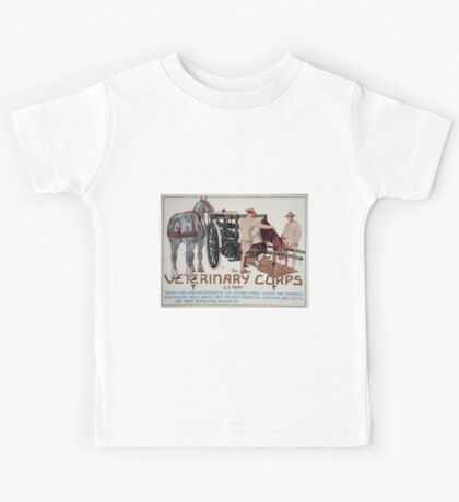 The Veterinary Corps US Army teaches men care and treatment of sick animals horse judging and soundness horseshoeing riding driving meat and dairy inspection something very useful 003 Kids Tee