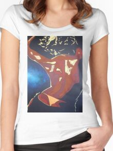 Backview of A Young Woman Dancing In A Night Club Women's Fitted Scoop T-Shirt