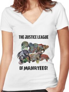 Justice League of Manatees SALE! Women's Fitted V-Neck T-Shirt