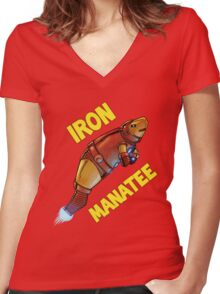 Iron Manatee SALE! Women's Fitted V-Neck T-Shirt