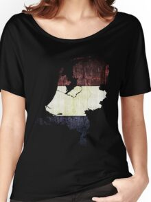 Vintage Netherlands Flag and Map Women's Relaxed Fit T-Shirt