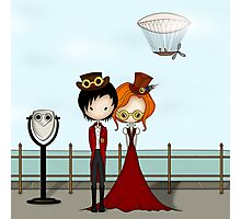Steampunk Promenade Cartoon Illustration Photographic Print