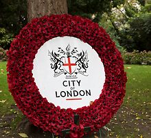City of London Poppy Wreath outside St Pauls Cathedral in London by Keith Larby