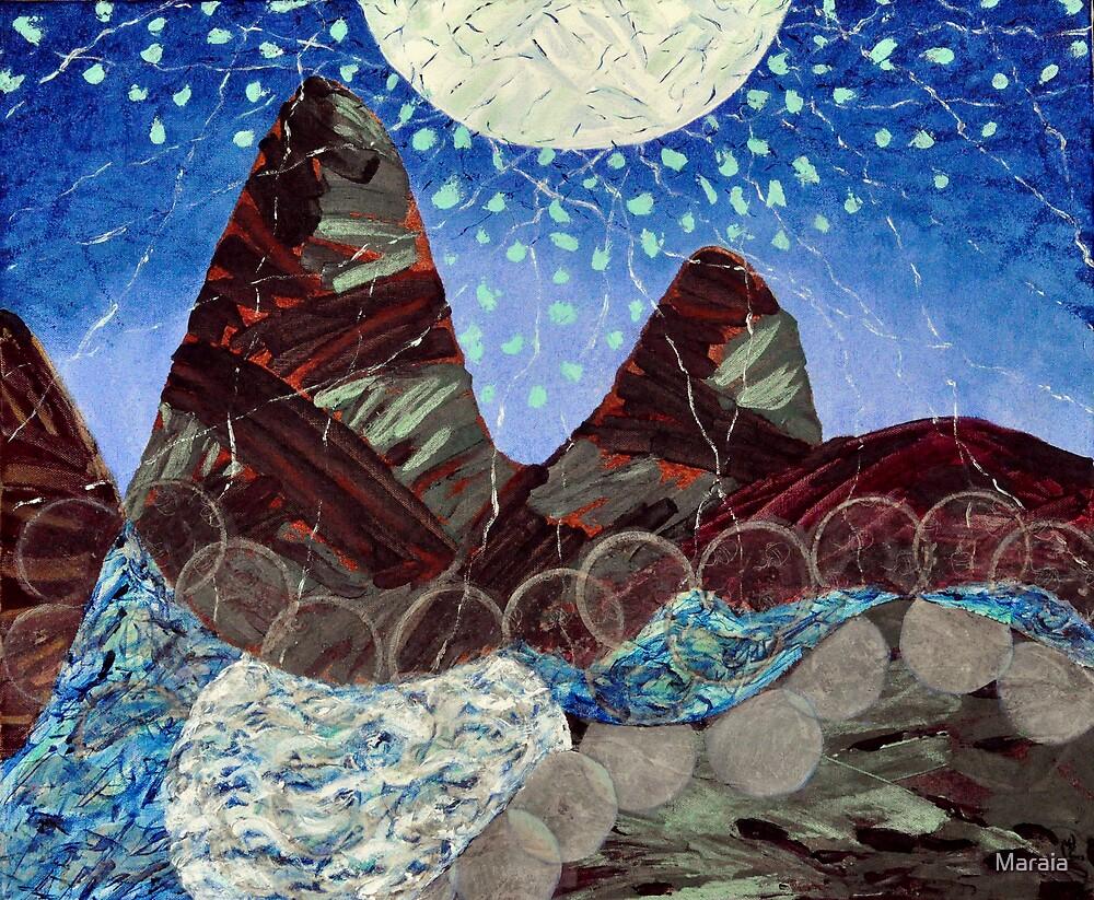 Moon rolling on water by Maraia