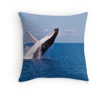 Humpback Whale Breaching off Hervey Bay Throw Pillow