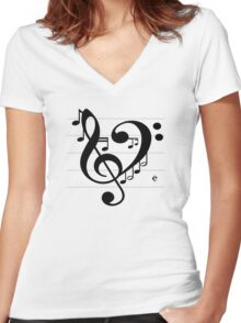 Love Music II Women's Fitted V-Neck T-Shirt