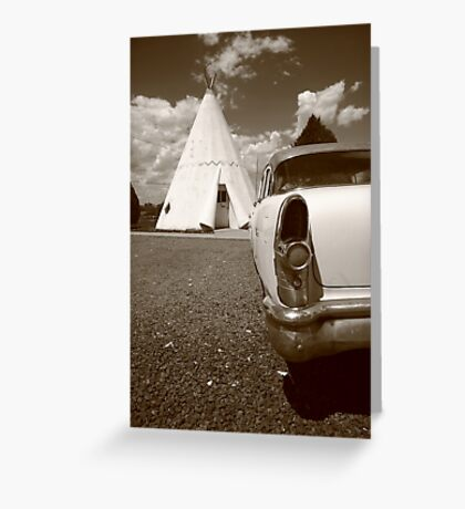 Route 66 Wigwam Motel and Classic Car Greeting Card