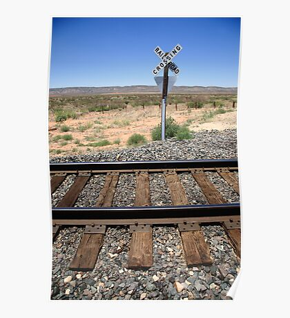 Railroad Tracks and Crossing Poster