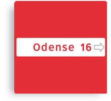Odense Road Sign, Denmark Canvas Print