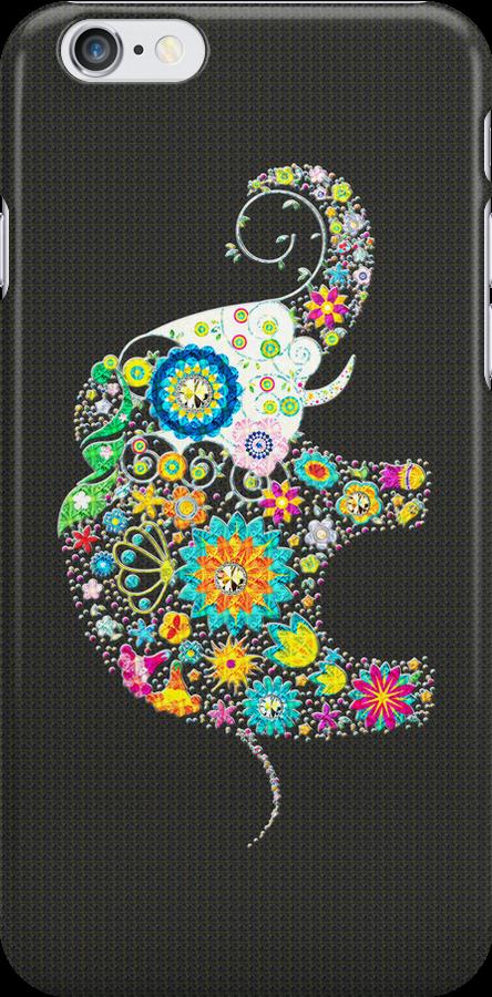 Colorful Retro Floral Elephant Design by artonwear