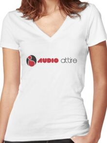 AUDIO ATTIRE title Women's Fitted V-Neck T-Shirt