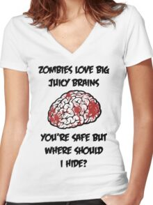 Juicy Brains Women's Fitted V-Neck T-Shirt