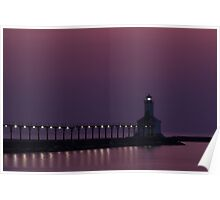 Michigan City, Indiana's East Pierhead Light at Twilight Poster