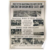 Enlist in the Quartermaster Corps for the construction division United States Army Poster