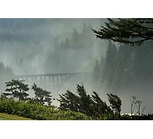 Misty Bridge at Heceta Head Photographic Print
