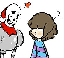 Undertale Papyrus and Frisk by Vineschnoz
