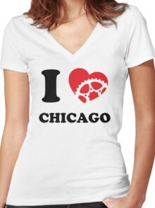 I Ride Chicago Women's Fitted V-Neck T-Shirt