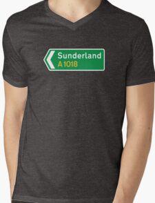 Sunderland, Road Sign, UK  Mens V-Neck T-Shirt