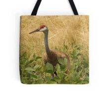 Sandhill Crane Skirted in Green Leaf Tote Bag