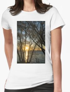 Golden Willow Sunrise Womens Fitted T-Shirt