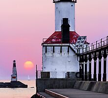 Michigan City Light and Setting Sun by Kenneth Keifer