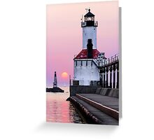 Michigan City Light and Setting Sun Greeting Card