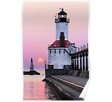 Michigan City Light and Setting Sun Poster