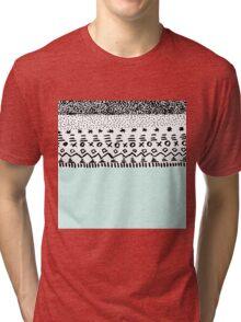 Chic hand drawn teal black tribal pattern  Tri-blend T-Shirt