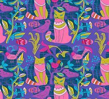 Retro Cats Flowers And Birds Pattern Design-Pink And Blue by artonwear