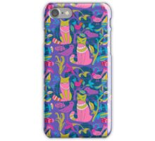 Retro Cats Flowers And Birds Pattern Design-Pink And Blue iPhone Case/Skin