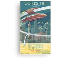 Futuristic Earth Travel Poster Canvas Print