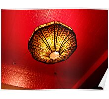 Orange Against Red, Looking Up At A Tiffany Lamp Poster