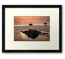 Hazy Oregon sunset Framed Print