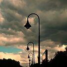 Parking Lot Lamps in Silhouette, Train Station, Lincoln Park, NJ by Jane Neill-Hancock