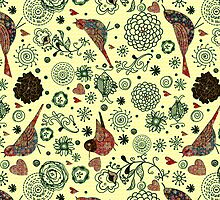 Reto Flowers And Birds Pattern Design-Pastel Tones by artonwear