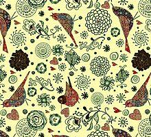 Reto Flowers And Birds Pattern Design-Pastel Tones by artonwear