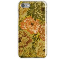 Pastel Brown And Yellow Tones Rustic Retro Flowers iPhone Case/Skin
